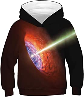 Huashao Boys Girls Realistic 3D Digital Print Pullover Galaxy Cool Hoodie Hooded Sweatshirt with Pocket for 6-16 Years