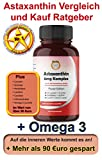 6mg Astaxanthin 100 Softgel Kapseln, Genku´s bestes Astaxanthin Komplex sehr hohe Bioverfügbarkeit mit Omega-3 Lycopin Grüntee Heidelbeer Citrus Lecithin Carotine, stärker als 4mg + 12mg und OPC + Q10