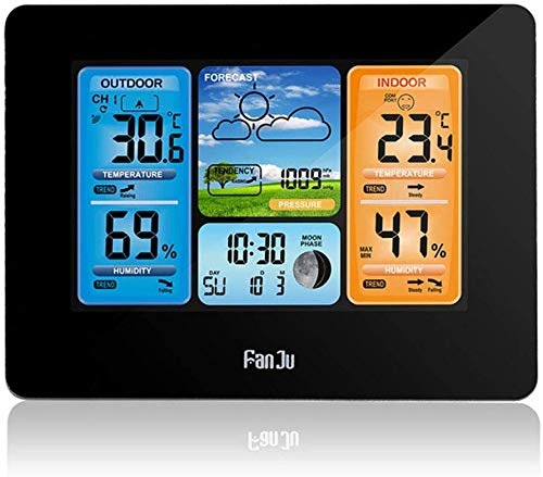 ZWFS Weerstation, draadloze digitale wekkeruitgang, voor binnen en buiten, draadloze sensor, elektronische hanging temperatuur en luchtvochtigheid, alarm weather meter