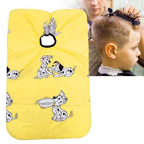 Enfants coupe de cheveux Cap coiffeur, dessin animé coiffure tablier salon de coiffure coupe de cheveux mignon robe de teinture Cape(YELLOW)