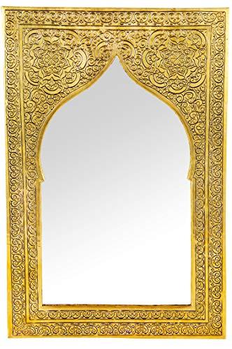 Orient Spiegel Wandspiegel Malika 40cm Gold Messing | Großer Marokkanischer Flurspiegel Messingrahmen orientalisch verziert | Orientalischer Vintage Badspiegel ohne Beleuchtung | Orientalische Deko