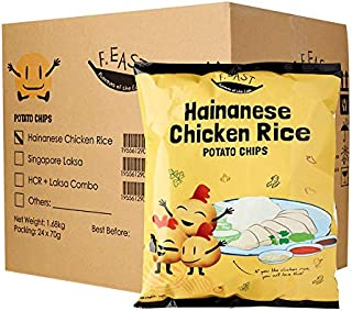 F.EAST Potato Chips Carton, Hainanese Chicken Rice, 70g, (Pack of 24)