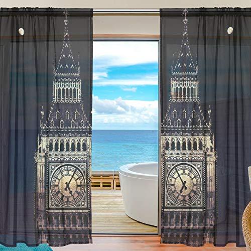 BIGJOKE Vorhang für Fenster, Transparenter Vorhang, London Big Ben, Küche, Wohnzimmer, Schlafzimmer, Büro, Voile, 2 Stück, Multi, 55x84 inches