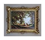 Lnxp Gemälde Jesus Christus Ikonen Heiligenbild mit Rahmen 56x46 cm Religiöse Bilder der Sohn Gottes (Gold-Weiß)
