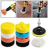 Kshineni Car Foam Drill 3-Inch Buffing Pad,11 Pcs Polishing Pads Kit,Car Buffer Polisher Kit Drill Buffing Kit for Car Polishing,Waxing,Sealing Glaze