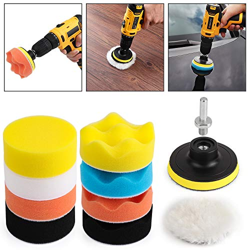 Kshineni Car Foam Drill 3-Inch Buffing Pad,11 PCS Polishing Pads Kit,Car Buffer Polisher Kit Sponge Pad Kit for Car Polishing,Waxing,Sanding,Sealing Glaze