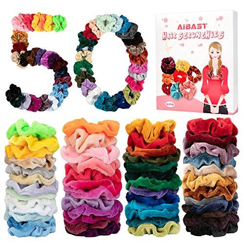 AiBast 50 Chouchous Cheveux Velours Élastiques Fille+ Peigne, Bandes de Caoutchouc Colorées Chouchous Bandes de Cheveux Porte-Queue de Cheval Bandeaux -Femmes(Avec Boîte-Cadeau)