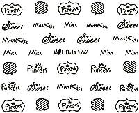 ネイルシール アルファベット 文字 パート2 ブラック/ホワイト/ゴールド/シルバー 選べる44種 (ブラックBP, 25)