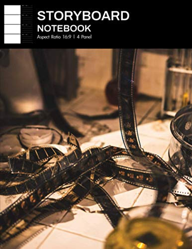 Storyboard Notebook: Spacious 16:9 Storyboards Sketchbook for a Short Film, TV Show, and Animation, 4 Panels per Page, 8.5 x 11, 300 pages