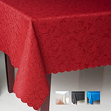AHOLTA DESIGN Turkish Tablecloth Polyester Table Linen - Stain Resistant Wrinkle free Non-Iron Dust-proof Oblong Square Round – Table cover for Wedding Party Gift (RED, Rectangle 60 x84 )