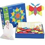 Camidy Bloques de Patrón de Madera Juegos de Clasificación Y Apilamiento de Rompecabezas para Niños Rompecabezas de Forma Geométrica con 20 Tarjetas de Diseño para Niños de 3 Años O Más