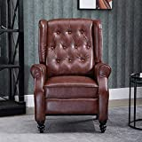 Nozama Accent Pushback Chair for Living Room Tufted Recliner Chair Bedroom Fabric Recliner Pushback Chair (PU, Vintage Brown)
