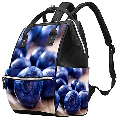 Yuelai Borsa per pannolini Zaino per laptop Zaino da viaggio per donna, motivo mirtillo con frutta fresca