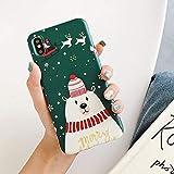 LUOKAOO Merry Christmas Couples Phone Case para iPhone XR XS MAX 11 6 6s 7 8 Plus X Cartoon Snowman & amp;Ciervos Soft Back Cover Estuches Regalo, T4, para iPhone 11 Pro