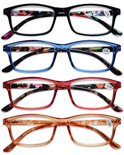 KOOSUFA Lesebrille Damen Herren Federscharnier Blumen Lesehilfen Augenoptik Vintage Retro Qualität Vollrandbrille mit Stärke 1.0 1.5 2.0 2.5 3.0 3.5 4.0 (4 Farben Set, 3.0)
