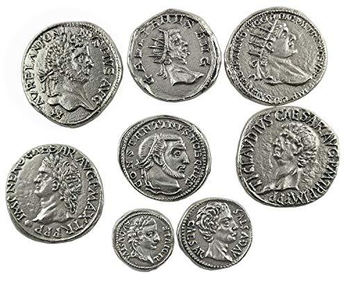 Eurofusioni Monedas Antiguas Romanas chapada Plata - Set 8 Piezas