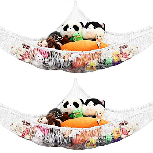 2PCS Toy Storage Hammock for Stuffed Animals Teddies Large Mesh Toys Holder Net Organiser with 6 Strong Hooks for Kids Bedroom