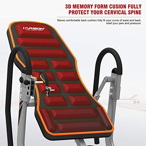 Product Image 3: HARISON Heavy Duty Inversion Table for Back Pain Relief 350 LBS Capacity with 3D Memory Foam, Back Inversion Chair with 180 Degree Full Inversion