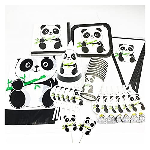 Jjwlkeji Party Tableware 95pcs panda birthday party decorations panda cups napkins panda theme tableware set