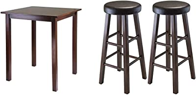 Winsome Wood Parkland Dining, Walnut & Wood Marta Assembled Round Bar Stool with PU Leather Cushion Seat and Square Legs, 30.3-Inch, Set of 2