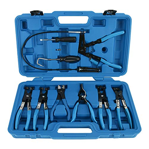 FreeTec 9pcs Hose Clamp Pliers Tool Set for Fuel Oil Water