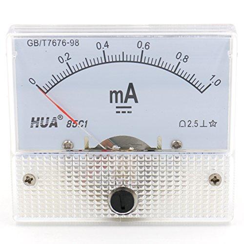 Heschen 85C1-1mA Rechteckiges Strommessgerät Amperemeter Tester DC 0-1,0 mA Klasse 2,5 weiß
