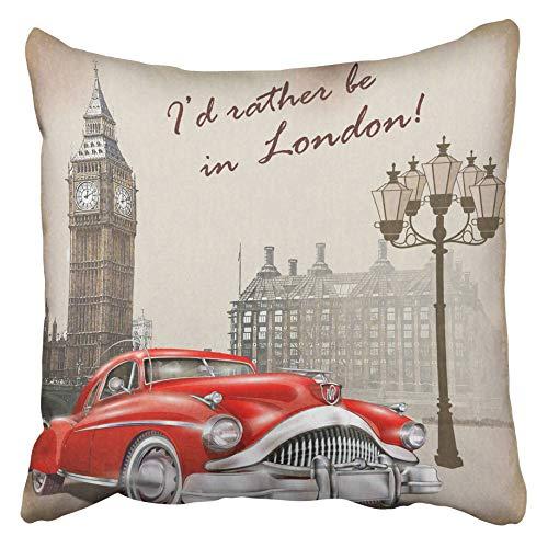 AEMAPE Fundas de cojín Vintage London Retro Car Travel Classic 1960 S 1950 S Dibujo Inglaterra 40X40 Cm Funda de cojín