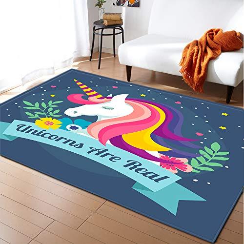 XuJinzisa Unicornio Dibujos Animados Niños Impresión 3D Alfombra Suave Antideslizante Sala De Estar Dormitorio Alfombra Habitación para Niños Alfombra De Juego Decoración del Hogar 120X120Cm H20717