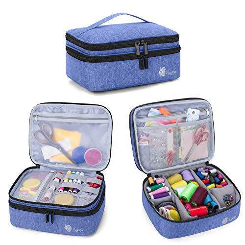 Luxja Bolsa para Kit de Costura, Doble Capa Organizador de Accesorios de Costura, Bolsa para Agujas, Hilo, Tijeras y Otras Materiales de Costura, Azul