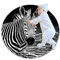 エリアラグ軽量 動物のシマウマ フロアマットソフトカーペット直径31.5インチホームリビングダイニングルームベッドルーム
