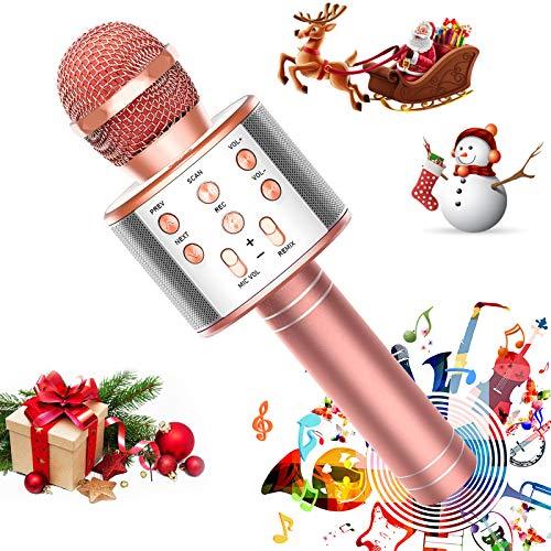 FUKKUDA Karaoke Microphone for Kids, 3 in 1 Wireless Portable Handheld Microphone Karaoke Machine for Christmas Home Birthday Party, Voice Disguiser Karaoke Microphone