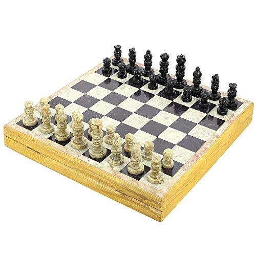 Set von 6 - Handgemachte indische Schachspiel - Spielen Sie Schach mit Speckstein Schachfiguren & Stein und Holz Schachbrett - einzigartige Schachspiele und Boards für Geschenke
