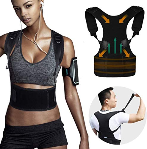 Clkdasjd Back Brace Haltungskorrektur für verstellbare Neoprengurte Verbessern Sie die Haltung und bieten Sie Lordosenstütze, um Schmerzen im unteren und oberen Rückenbereich zu reduzieren