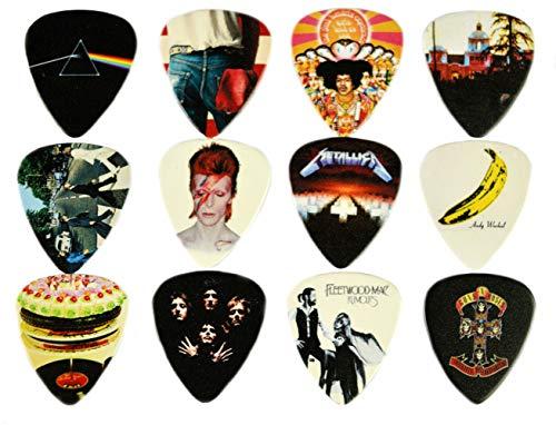 12 x album classici plettro per chitarra. Plettri per chitarra di alta qualità per ogni chitarrista. Stampa fronte-retro.