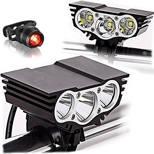 Tobole - Torcia / faretto / luce frontale per bicicletta, con luci a LED, 5luci CREE, 8000lumen di luminosità, mod. XM-L T6, 1300mAh, con caricabatterie, Nero 3