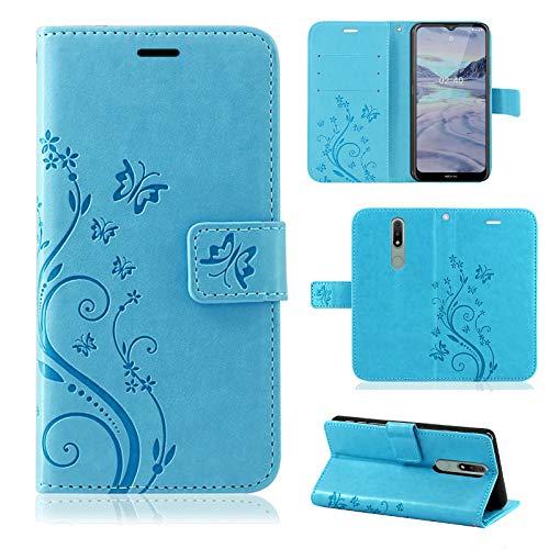 betterfon Nokia 2.4 Hülle - Handyhülle Nokia 2.4 Schutzhülle Klapphülle mit Magnetverschluss/Kartenfächer für Nokia 2.4 Blume Blau
