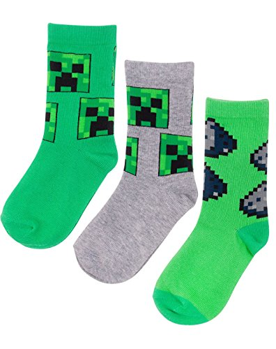 Vanilla underground Minecraft Assorted Creeper Design 3 Pack Boy's Socks in Green and Grey