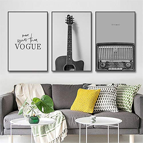 ZJXH Modern Decorative Paintings Canvas Paintings for Teen Living Room Bedroom Decor Set of 3 Frames Fashion Guitar Radio Wall Art Modern Black White A Great Gift for Your Friends and Relatives