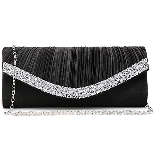 Crystal trim accents the front flap in pleated details Removable hidden-clasp silver chain strap for shoulder or cross body wear Lined interior featuring one slip pocket. Easily fit a cell phone, wallet, compact, lipstick and other small items Suitab...