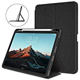 DTTO Case for iPad 10.8 Inch 2020, Double-fold Folio Stand Shockproof TPU Back Cover with Built-in Apple Pencil Holder - Auto Wake/Sleep and Multiple Viewing Angles -Dark Black