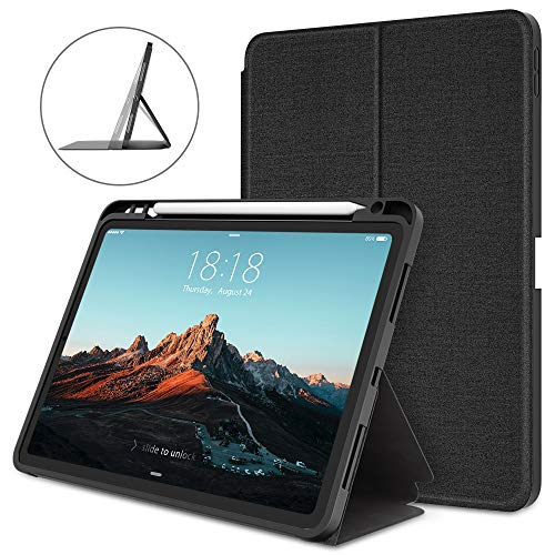 DTTO Case for iPad 10.8 Inch 2020, Double-fold Folio Stand Shockproof TPU Back Cover with Built-in Apple Pencil Holder - Auto Wake/Sleep and Multiple Viewing Angles - Black