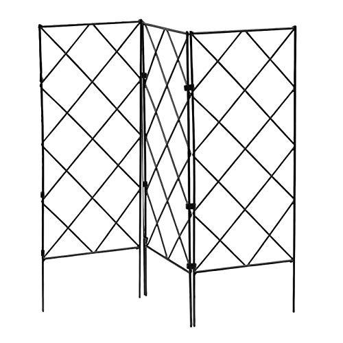 Rankhilfen Für Kletterpflanzen, 3er Set, Rankgitter Metall Rosengitter, 53x20 Cm, Spalier Garten, Schwarz