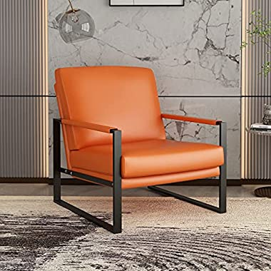 AWQM Modern PU Leather Accent Chair Arm Chair with Extra-Thick Padded Backrest and Seat Cushion Sofa Chairs for Living…