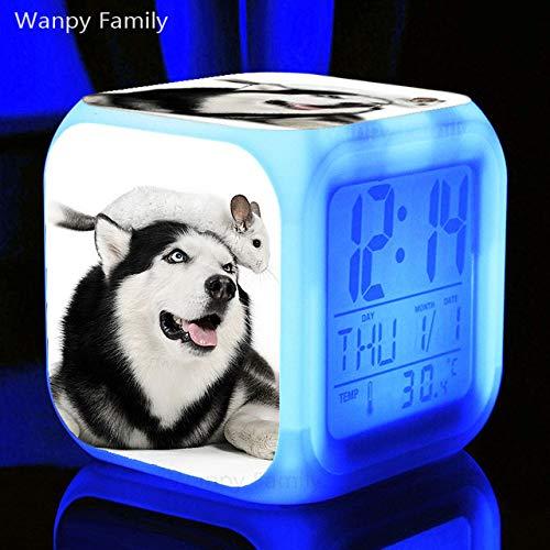 Zhuhuimin Leuke hond LED-wekker reloj wekker elektronische klok nachtkastje sluimer-/temperatuurklok multifunctionele touch-gevoelige wekker