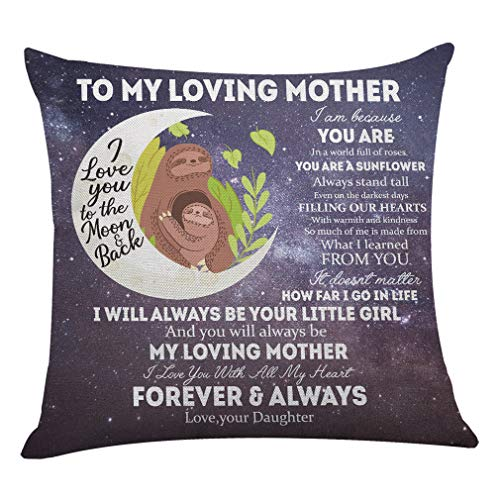onederful Throw Pillow Cover with The Saying for Mom from Daughter,Birthday Christmas Ideas for Mom - I Love You to The Moon and Back