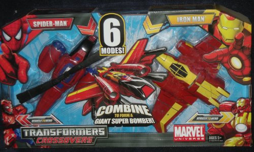 Marvel Universe - Transformers Crossovers - 2 Pack Set - Spider-Man and Iron Man with 6 Different Modes (Spider-Man, Attack Helicopter, Iron Man, Fighter Jet, Giant Super Bomber and Heavy Assault Robot)