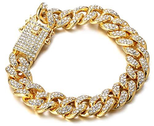 Halukakah Diamante Cadena Cubano para Mujer Niña,13.5MM Chapado en Oro Real de 18k Pulsera 20cm,Cz Completa Juego de Puntas de Corte de Diamante,con Caja