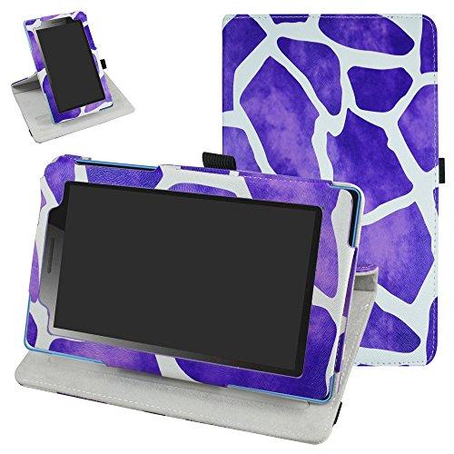 Mama Mouth Lenovo Tab3 A7-10 / Tab 3 7 Essential Rotación Funda, 360° Rotación PU Cuero con Soporte Funda Caso Case para 7' Lenovo Tab3 7 Essential 710F 710I Android Tablet 2016,La Cebra Púrpura