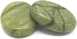 Aboval 2 Pcs Professional Large Massage Stones Natural Green Jade Hot Cold Stone for Spa, Massage Therapy (3.14 x 2.36 in)