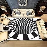 AMZFDC 3D Area Rug Floor Mat Illusion Non Slip Area Rug, 3D Visual Vortex Optical Illusions Floor Rug,Black White Plaid Round Rugs for Lvining Bedroom Decoration Home Decor (160cm)